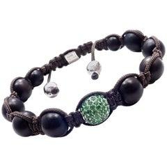 Shamballa Jewels Tsavorite Ebony Beads White Gold Macrame Bracelet