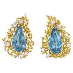 Alan Gard, London, 1968, Aquamarine, Diamond and Gold Earrings