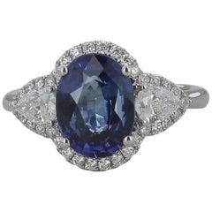 3.18 Carat Oval Natural Blue Sapphire Cocktail Ring Pear/Round Diamonds 18K Gold