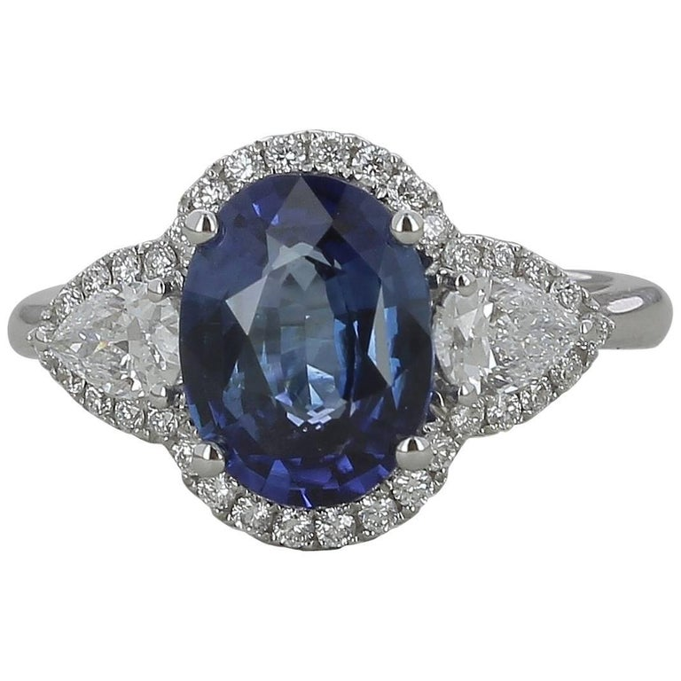 GRS Certified 3.18 Carat Oval Natural Blue Sapphire Engagement Ring