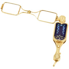 Gold and Enamel Lorgnette with Concealed Watch