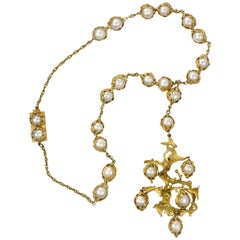 Charles de Temple, London, 1970s Cultured Pearl and Gold Necklace