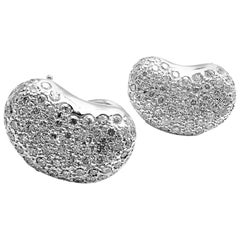 Tiffany & Co. Elsa Peretti Diamond Platinum Bean Earrings
