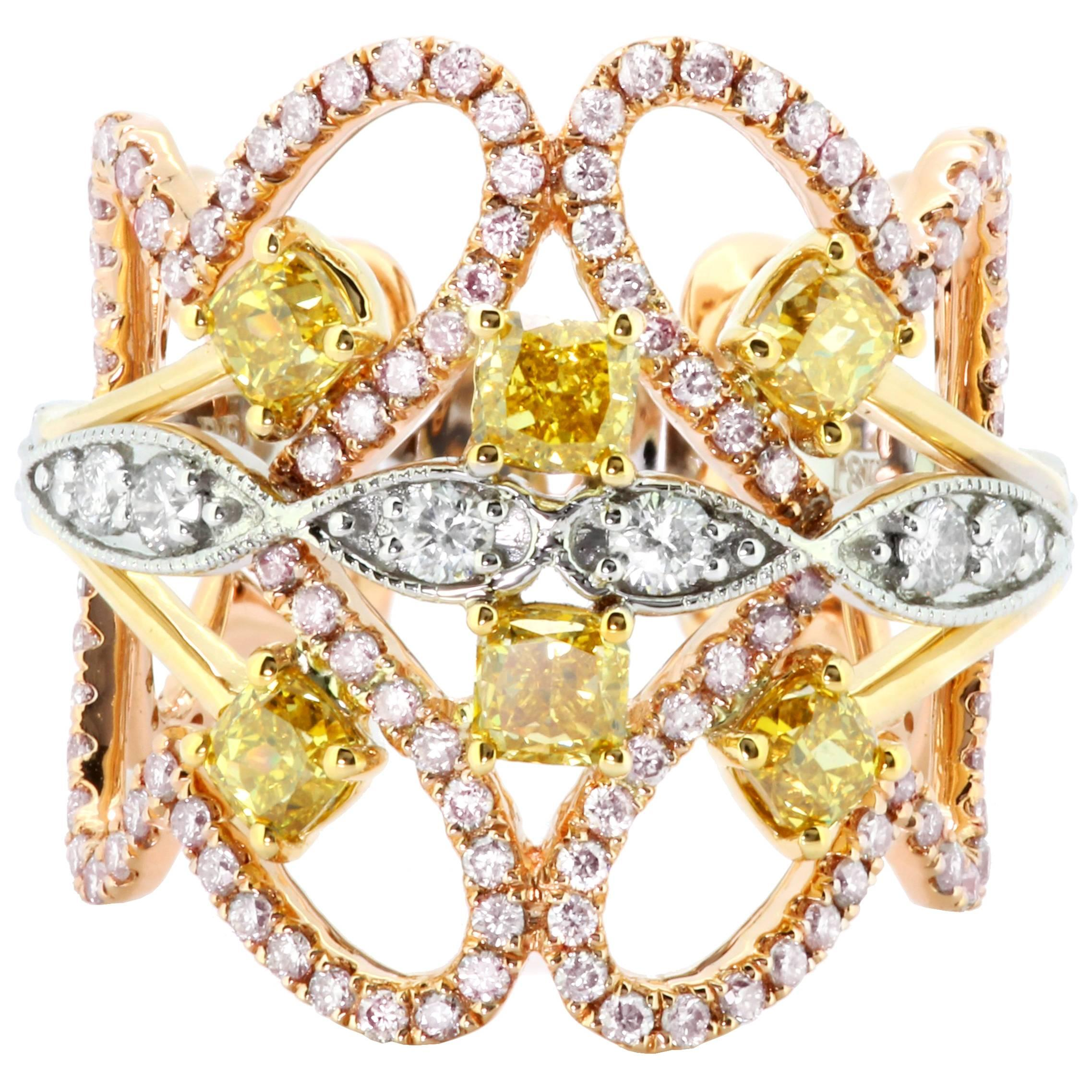 Natural Yellow Pink White Diamond Three-Color Gold Cocktail Fashion Band Ring