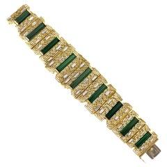 David Thomas, London, 1970s Tourmaline, Diamond and Gold Stepped Link Bracelet
