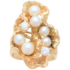 "Handmade 14 Karat Diamond and Pearl ""Oyster"" Ring"