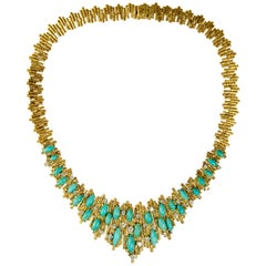 George Weil, Turquoise, Diamond and Textured Gold Collar