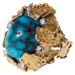 George Weil, London, 1970s Turquoise, Diamond, Platinum and Gold Ring