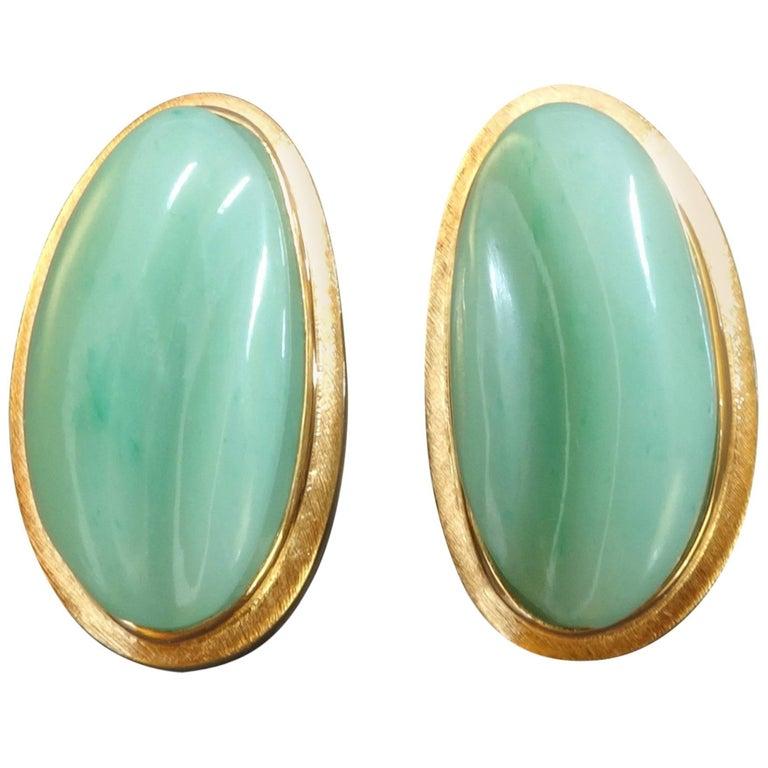 1970s Burle Marx Forma Livre Jade Green Chrysoprase Gold Clip-On Earrings