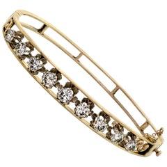 Vintage 1930s Diamond 14 Karat Yellow Gold Stiff Hinged Bangle Bracelet