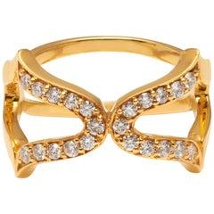 18 Karat Gold and White Diamonds Oriental Cross Ring