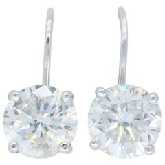 2.06 Carat Diamond Lever Back Solitaire Earrings