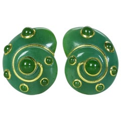 Pair of Quartz and Nephrite Ear Clips by Verdura