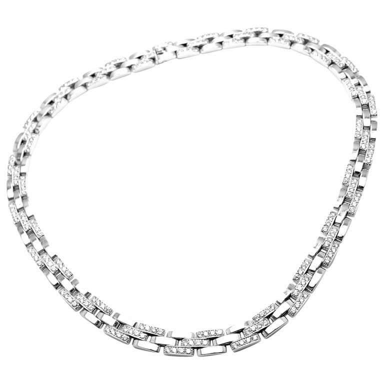 Cartier Panthere Panther Maillon Diamond White Gold Necklace