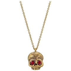 Wendy Brandes Ruby Skull Gold Necklace