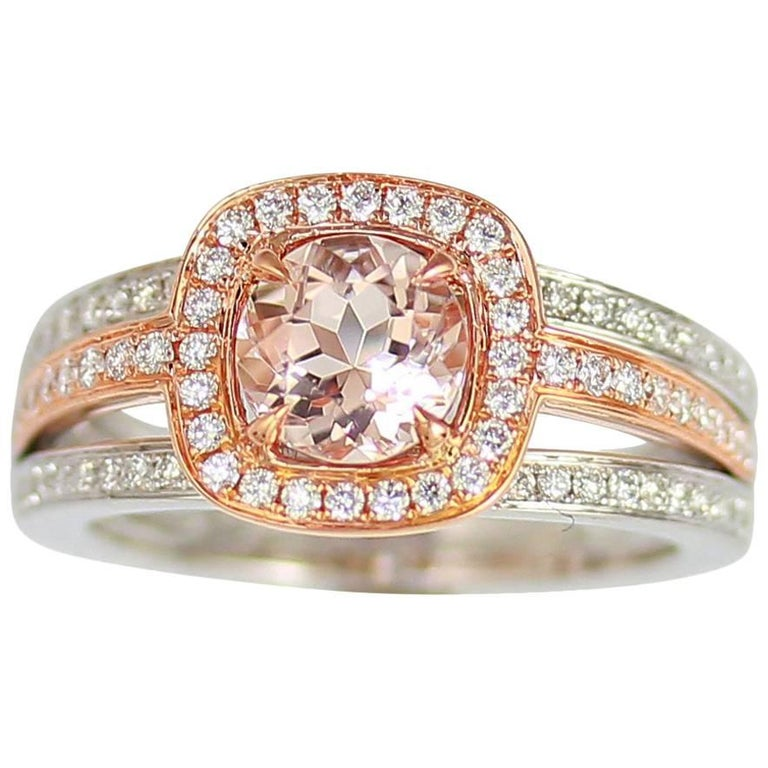 Frederic Sage 1.06 Carat Morganite and Diamond, Pink/ White Gold Ring