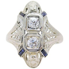 "Ladies' 18k Late Victorian ""Shield Ring"" with Sapphires and Old Mine-cut Diamond"
