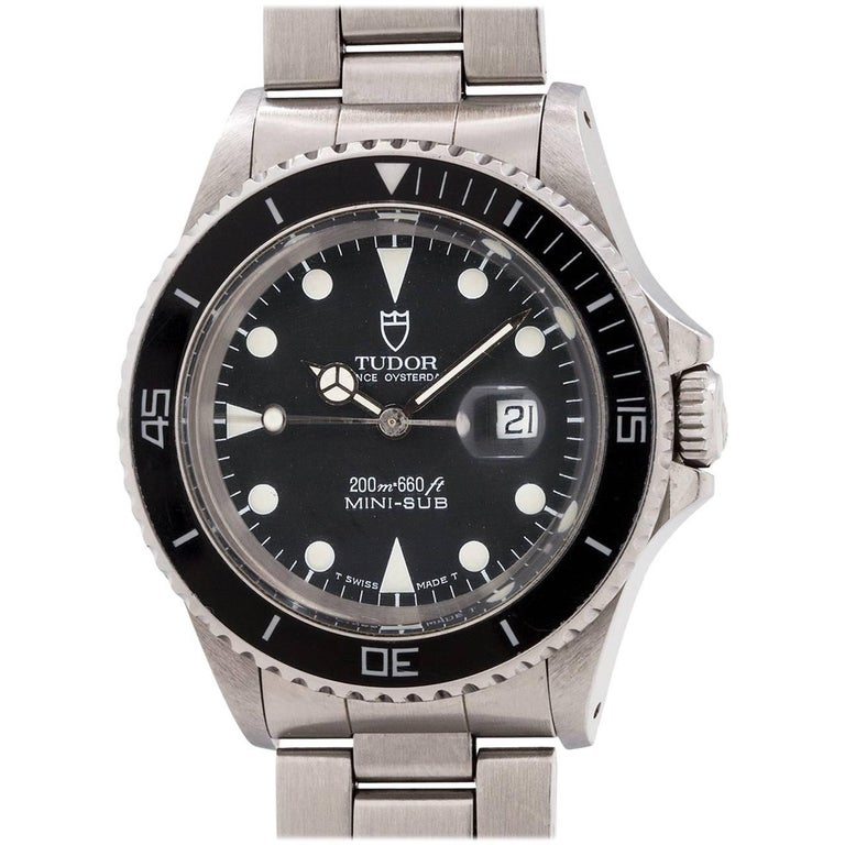 Tudor Stainless Steel Mini-Sub self winding wristwatch Ref 73090, circa 1992