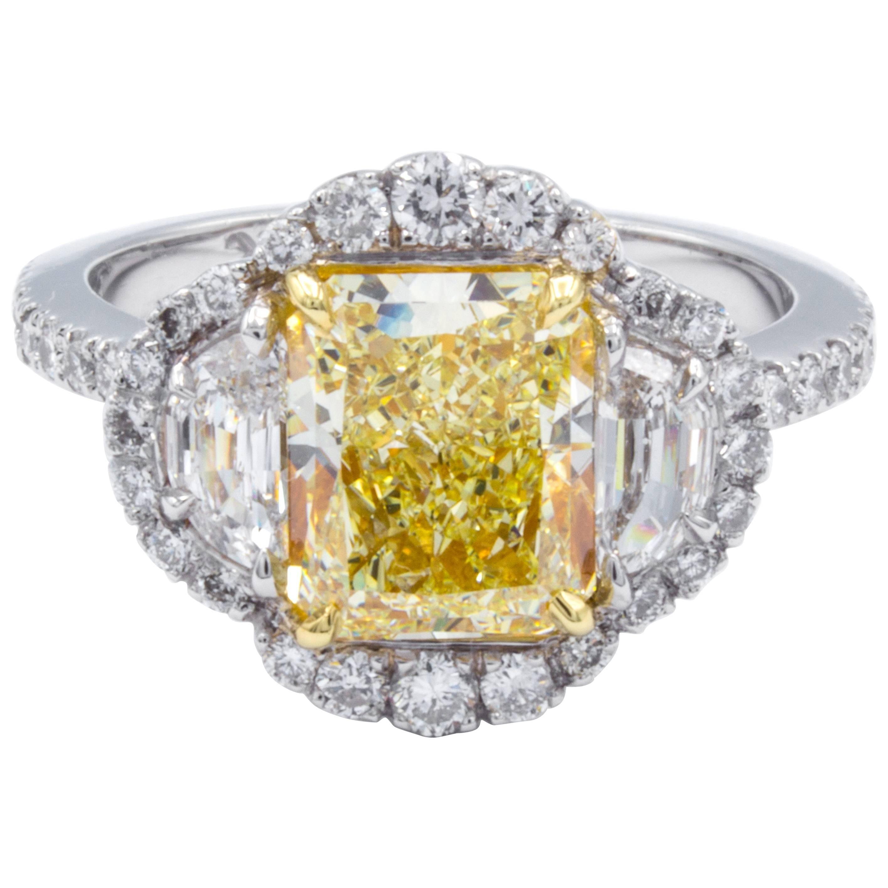 David Rosenberg 2.14 Carat Radiant Fancy Yellow VS GIA Diamond Engagement Ring