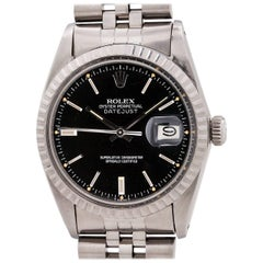 Rolex Stainless Steel Datejust Black Dial Automatic wristwatch Ref 16030, c1979