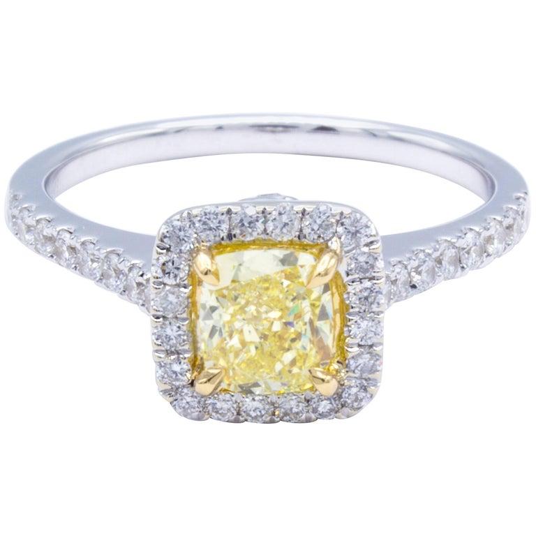 David Rosenberg .64 Carat Fancy Yellow Cushion Cut GIA Diamond Engagement Ring