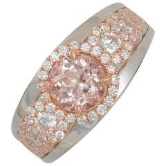 Frederic Sage 1.39 Carat Morganite and Diamond Pink / White Gold Ring
