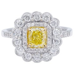 David Rosenberg .76 Natural Fancy Yellow Cushion Cut GIA Diamond Engagement Ring