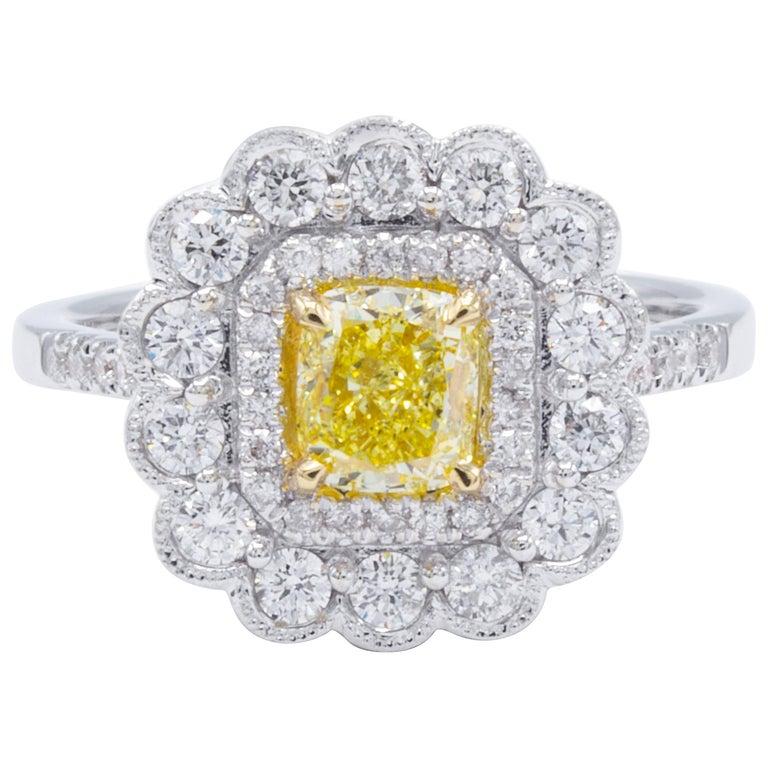 David Rosenberg .76 Natural Fancy Yellow Cushion Cut GIA Diamond Engagement Ring
