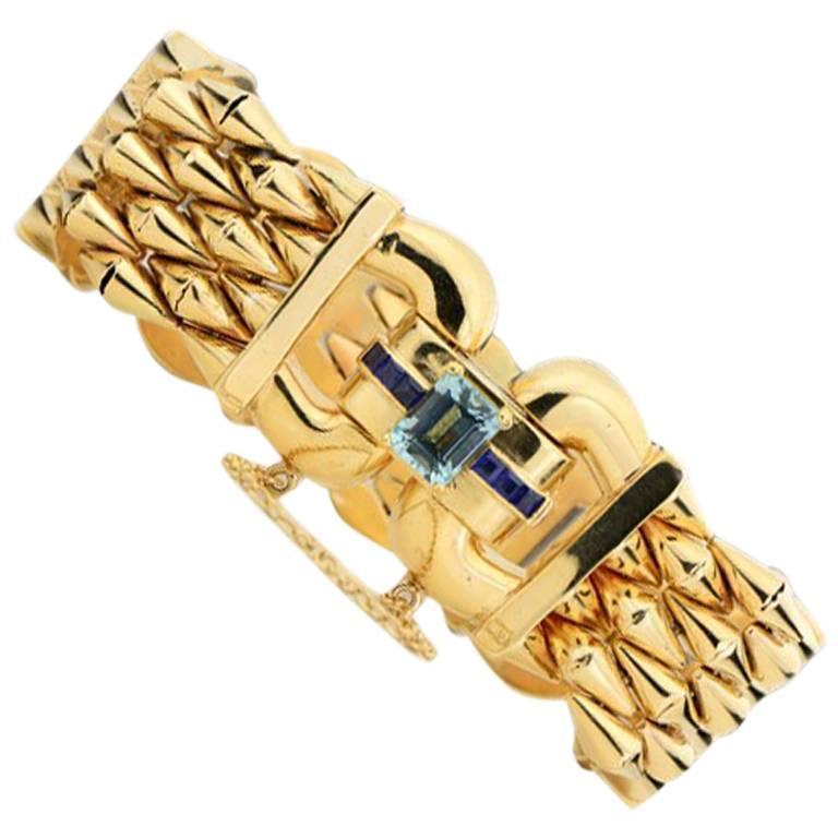 14 Karat Yellow Gold Aquamarine and Sapphire Flexible Ladies Bracelet