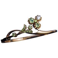 Antique Art Nouveau Russian Demantoid Pearl Gold Bangle Bracelet