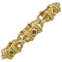 Estate SeidenGang 18 Karat Gold VS Diamond Gemstone Link Bracelet