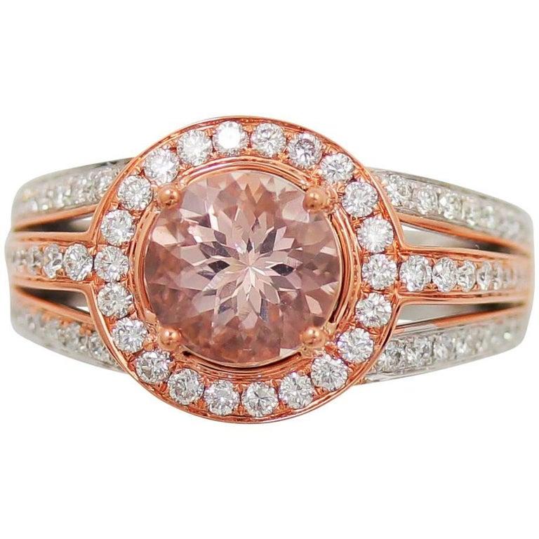 Frederic Sage 1.57 Carat Morganite and Diamond Pink/White Gold Ring