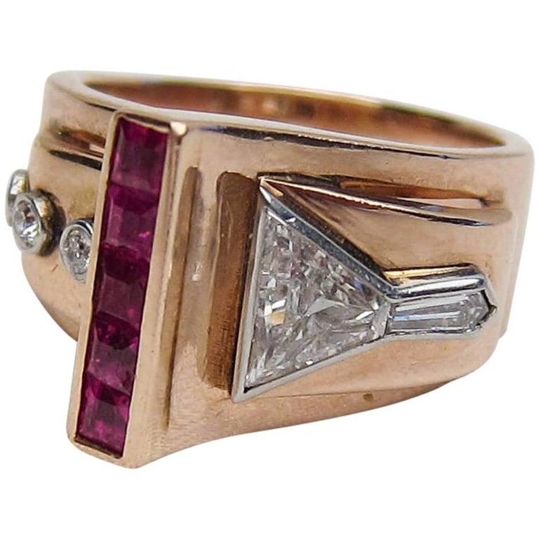 Retro Era Ruby and Diamond Handmade Buckle Cocktail Ring