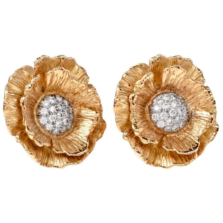 1990s Mish Hibiscus Flower Diamond Yellow Gold Clip-On Earrings