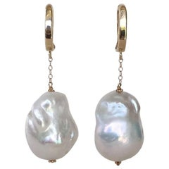 Large Baroque Pearl with 14 Karat Gold Chain and Lever Back by Marina J.