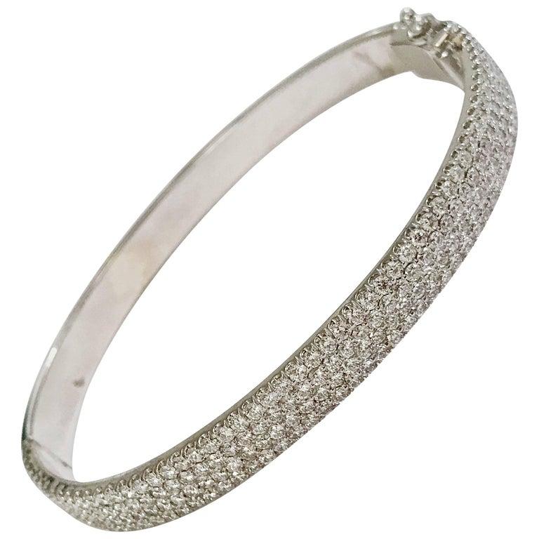White Gold Pave Diamond Cuff Bracelet with Hinge Closure