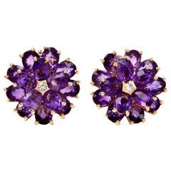 Tiffany & Co. Vintage Floral Amethyst 18 Karat Yellow Gold Clip-On Earrings