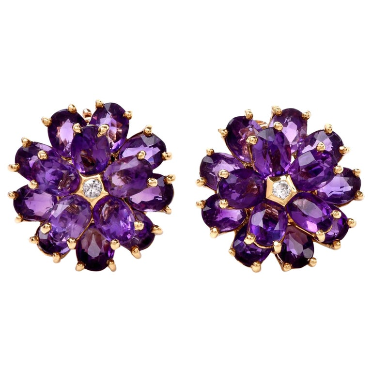 Tiffany & Co. Vintage Floral Amethyst 18 Karat Yellow Gold Clip-On Earrings