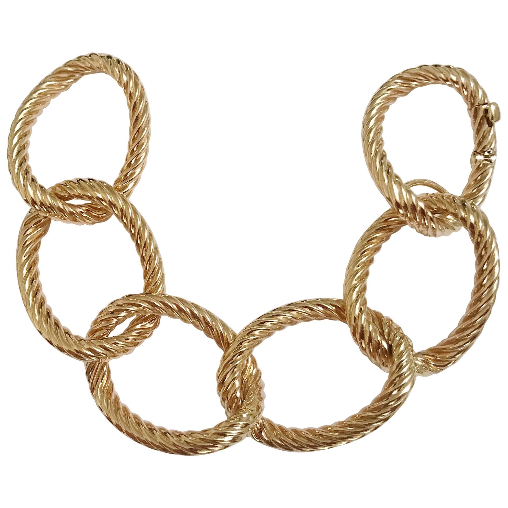 Yellow Gold Oval Spiral Link Bracelet
