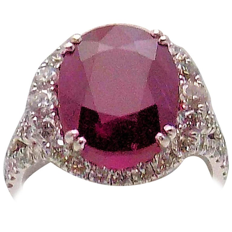 Mozambique Ruby and Diamond Cocktail Ring For Sale