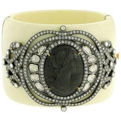 Cameo Rosecut Diamond Bakelite Cuff Bracelet