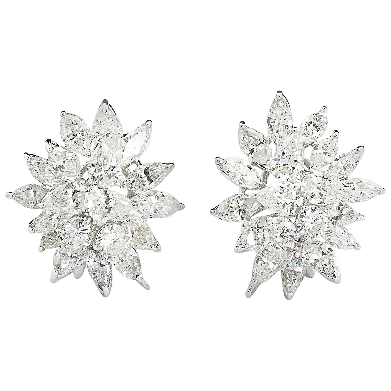 Diamond Cluster Earrings 13 Carat