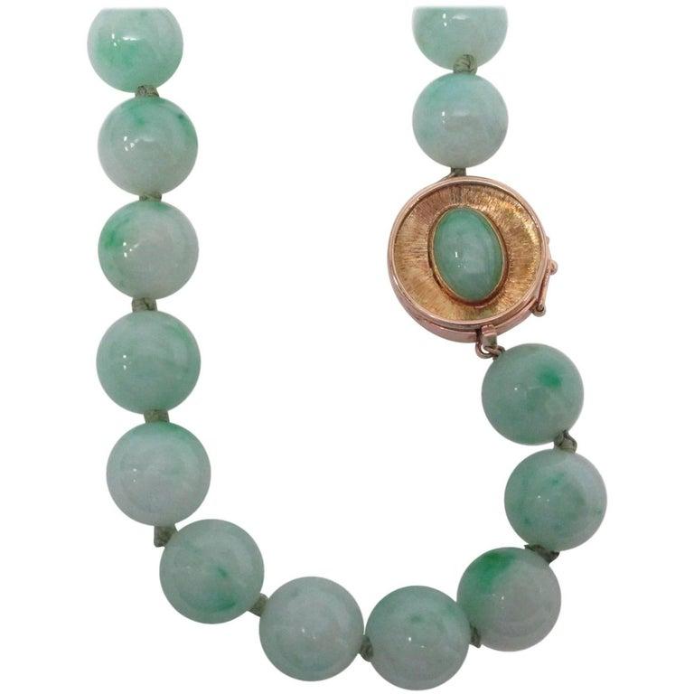 GIA Certified Natural Jade 14 Karat Yellow Gold Necklace