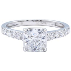 David Rosenberg 1.21 Carat Radiant E/SI2 GIA 18KW Gold Engagement Diamond Ring