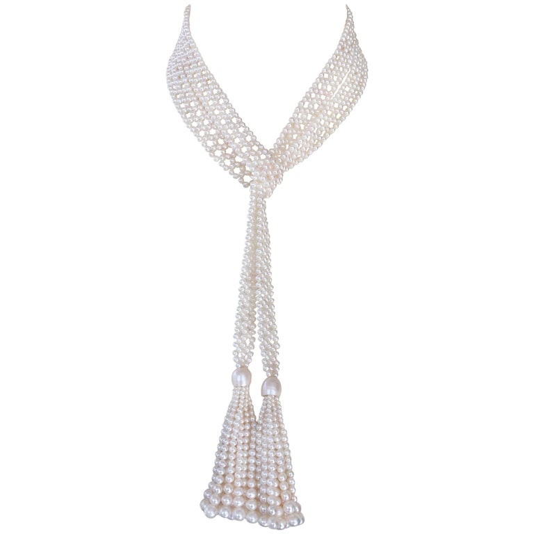 Woven White Pearl Sautoir with Graduated White Pearl Tassels by Marina J