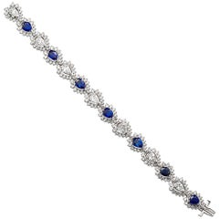 Pear Shape Diamond Sapphire Tennis Bracelet 19.50 Carat