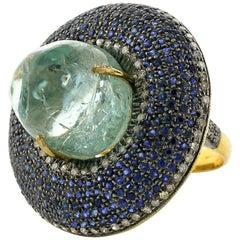 Stunning Aquamarine Ring with Sapphire and Diamonds Around