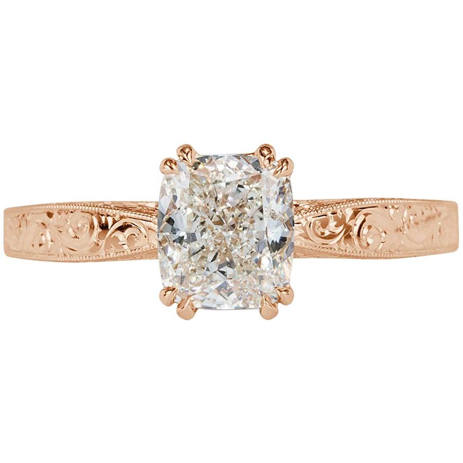 Mark Broumand 1.54 Carat Cushion Cut Diamond Engagement Ring