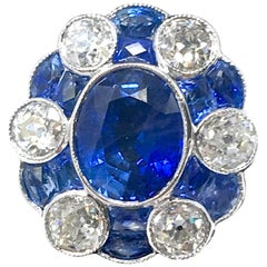 4.80 Carat Oval Sapphire Diamond Cocktail Ring