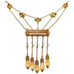 Victorian 10.57 Carat Citrine 18 Karat Gold Handmade Bib-Style Necklace